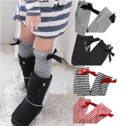 4 Colors Girls Bow Princess Knee Socks Stripe Stockings Leggings