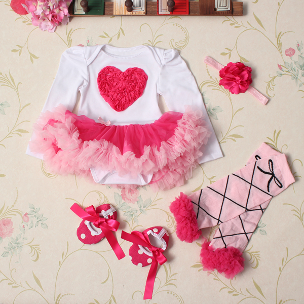 4Pcs Baby Girl Headband Romper Skirt Outfit Shoes Suit Set Baby & Mother Care
