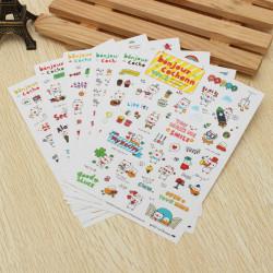 6PCS Cartoon Stickers Stationery Diary Notebook Decoration