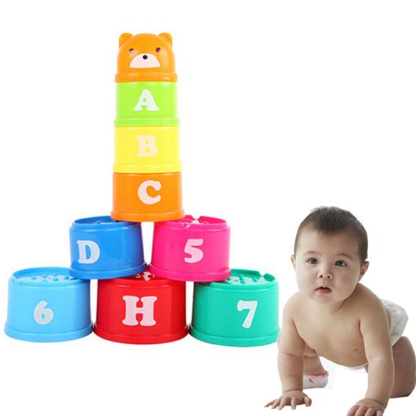 9stk Set Børn Pædagogisk Legetøj Figurer Breve Folding Kop Stack Børn  & Babyudstyr