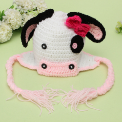 Animal Newborn Baby Cow Hat Knit Braided Tassels Cap