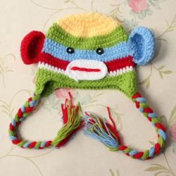 Dyr Spædbarn Baby Monkey Hat Strik Flettet Kvaster Cap
