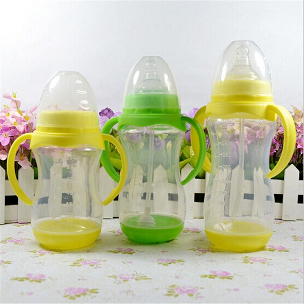 Baby 250ml Feeding Milk Bottle Silicone Nipple Handle Straw Baby & Mother Care