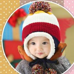 Baby Bear Stripe Beanie Hat Plus Velvet Thick Knitted Wool Cap