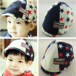 Baby Beret Cap Children Flat Peaked Casquette Five Pointed Star Hat
