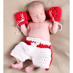 Baby Boxing Champion Hæklet Kostume Fotografi Prop Tøj