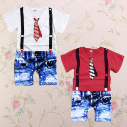 Baby Boy Cotton Blended Summer Gentleman Cool Jumpsuits