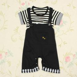 Baby Drenge Stripe Playsuit Top T-shirt Overordnede Bukser Jumpsuit