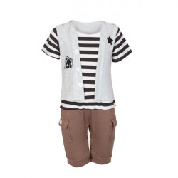 Baby Boys Summer Cotoon Black And White Striped Romper Kid Jumpsuit