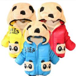 Baby Karikatur Panda Kapuze Baumwolle gefütterte Jacken Oberbekleidung