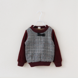 Baby Kind Jungen Dick Krawatte Lattice Plaid Pelz Strickjacke