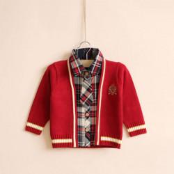Baby Børn Drenge Uld Bow Tyk Tie Plaid Sweater