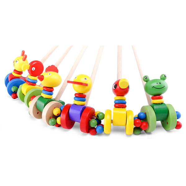 Baby Children Cartoon Wooden Duck Animal Cart Toys Baby & Mother Care