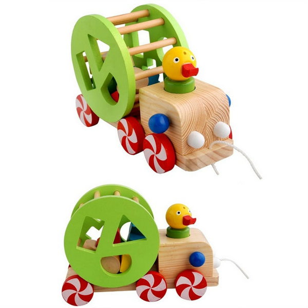 Baby Children Duck Pulling Car Animal Educational Wooden Toys Baby & Mother Care