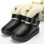 Baby Children Fur Snow Ankle Boots Waterproof Leather Shoes Baby & Mother Care