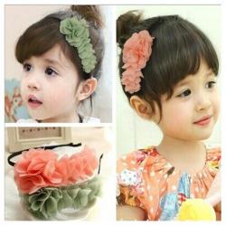 Baby Children Girls Chiffon Flower Hairband Soft Elastic Hair Hoop