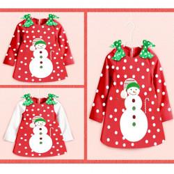 Bebis Barn Flickor God Jul Snögubbe Klänning Bow Dot Kjol