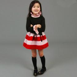 Bebis Barn Flickor Klänning Stripe Bow Klänning Fancy Kjol