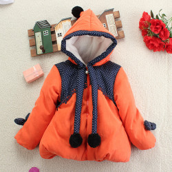 Baby Children Girls Princess HoodieThicken Polka Dot Outwear Coat