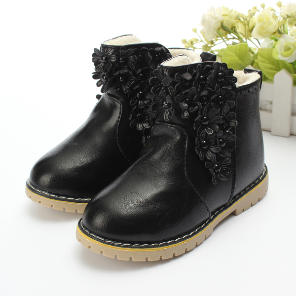 Baby Children Girls Princess PU Flower Martin Short Boots Shoes Baby & Mother Care