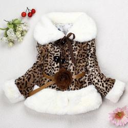 Baby Børn Piger Varm Fur Leopard Frakke Flyverdragt Overtøj