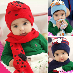 Baby Children Hat Scarf Suit Pattern Ladybird Caps Wraps