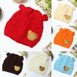 Baby Children Knitting Wool Hats Cartoon Label Bear Ear Cap