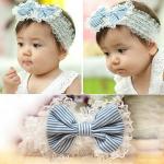 Baby Kind Spitze Bogen Stirnband Blume Stripes Elastische Kopfbedeckung Baby Kinder & Mutterpflege