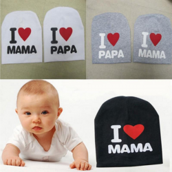 Baby Barn Söt Bomull Beanie Jag Älskar Mama Papa Hat