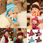 Baby Children Warm Christmas Smiling Star Print Hat Scarf Set Baby & Mother Care