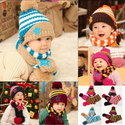 Baby Children Warm Christmas Smiling Star Print Hat Scarf Set