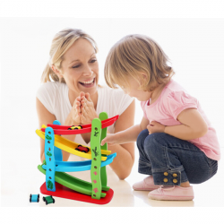 Baby Children Wooden Roller Coasters Slide Four Layer Gliding Car