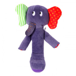 Baby Coral Fluff Lovely Elephant Hand Stick Rattles Music Bed Bell