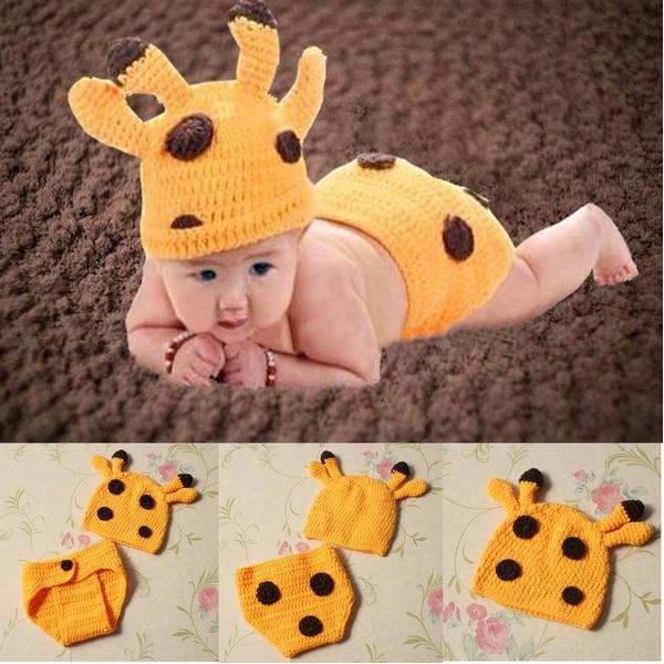 Baby Kostume Fotografi Prop Strik Fawn Hatte Cloak Outfits Børn  & Babyudstyr
