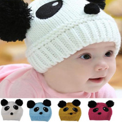 Baby Dual Ball Panda Hat Wool Knitted Crochet Beanie Cap
