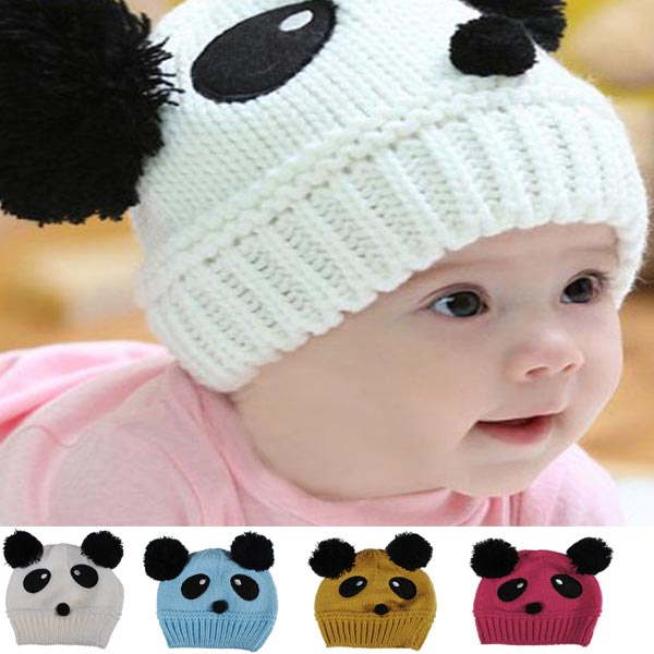 Baby Dual Ball Panda Hat Wool Knitted Crochet Beanie Cap Baby & Mother Care