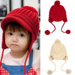 Baby Girl Boy Winter Crochet Knitted Woolen Warm Beanie Hat Cap