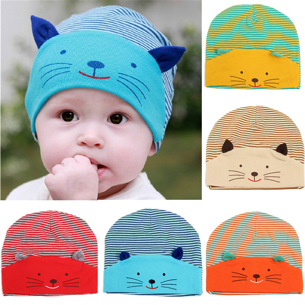 Baby Girl Boys Cute Animal Cat Soft Cotton Baggy Stripe Hat Cap Baby & Mother Care