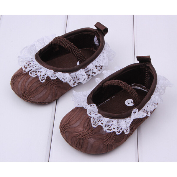Baby Girl Embroidered Lace Coffee Color Princess Shoes Baby & Mother Care