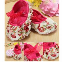 Baby Säuglingskleinkind Spitze Blumen Rose Bogen weichen Krippe Schuhe