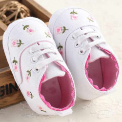 Baby Girl Infant Toddlers Embroidered Flower Crib Prewalker Shoes