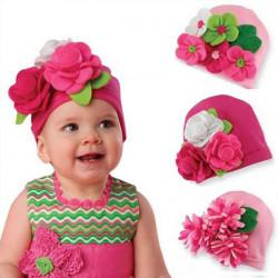 Baby Girl Kids Fashion Handmade Flower Knit Crochet Hat Cap