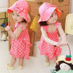 Baby Rosa Polka Punkt Kleid + Pants + Hat Set Outfit Kostüm