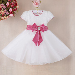 Baby Girl Polyester Sequined Big Princess Bowknot Dress