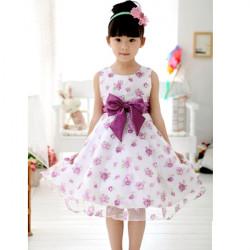 Baby Girls Bowknot Sleeveless Bandage Party Dress