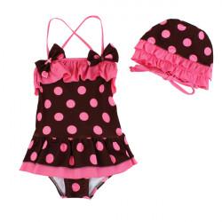 Baby Girls Children Polka Dot Princess Swimsuit With Caps Swimwear