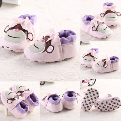 Baby Girls Cotton Monkey Soft Soled Elastic Crib Toddler Shoes