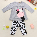 Baby Girls Cow Clothing Sets Top Shirt Trousers Outfit Baby & Mother Care