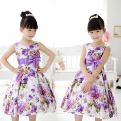Baby Girls Flower Sleeveless Pageant Wedding Party Dress
