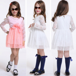 Baby Girls Long Sleeve Lace Bow Princess Wedding Dress